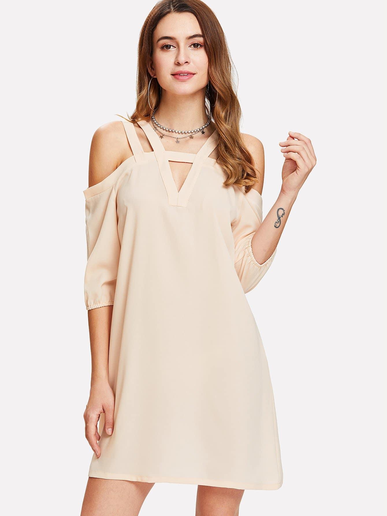 V Cut Neck Bishop Sleeve Dress bishop sleeve tied neck striped flare dress