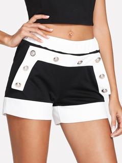 Button Detail Two Tone Shorts