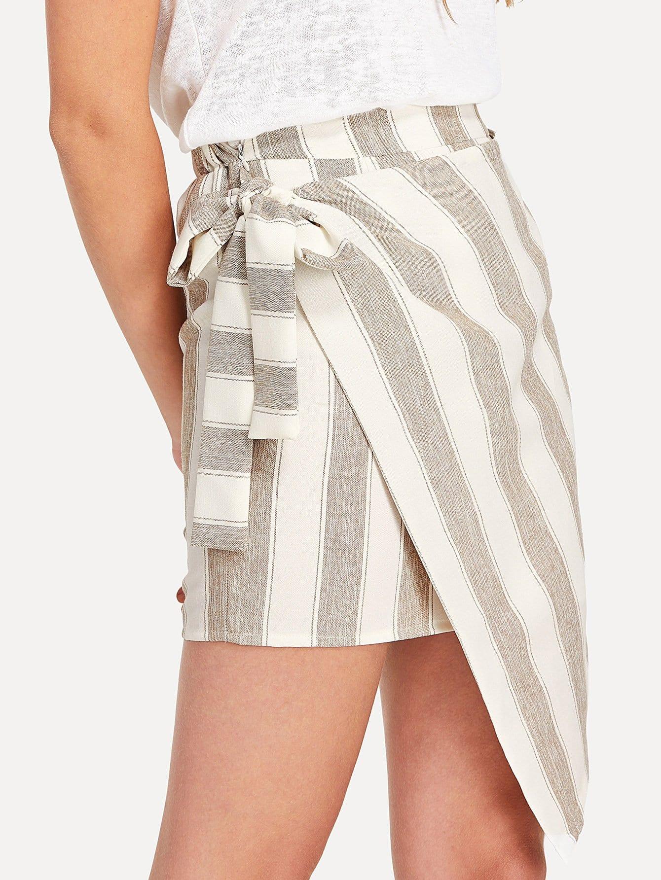 Tie Waist Overlap Striped Skirt multi striped skirt