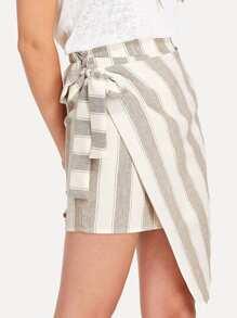 Tie Waist Overlap Striped Skirt