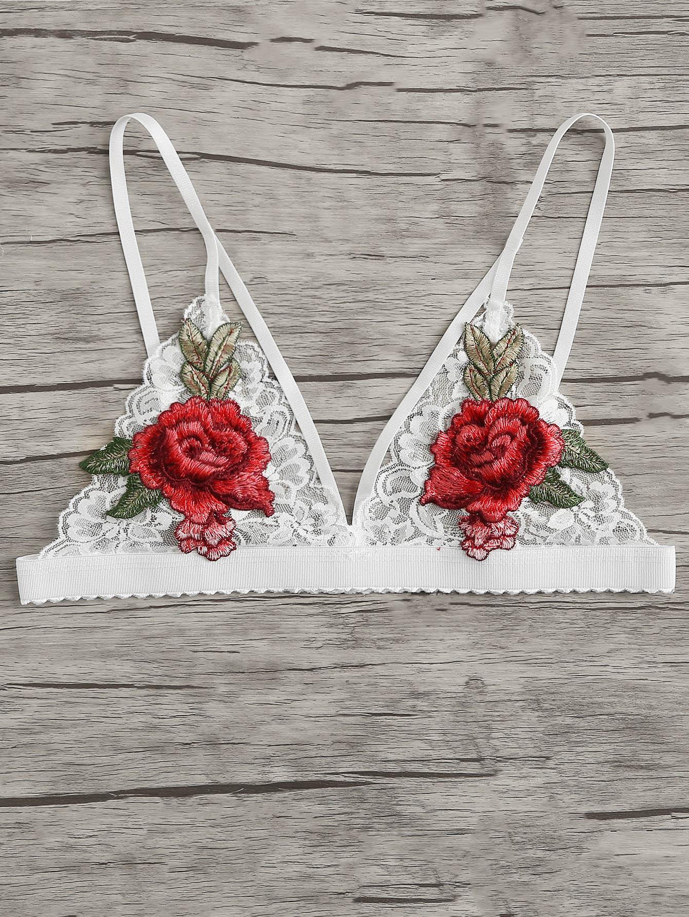 Rose Appliques Lace Bralette lace longline bralette