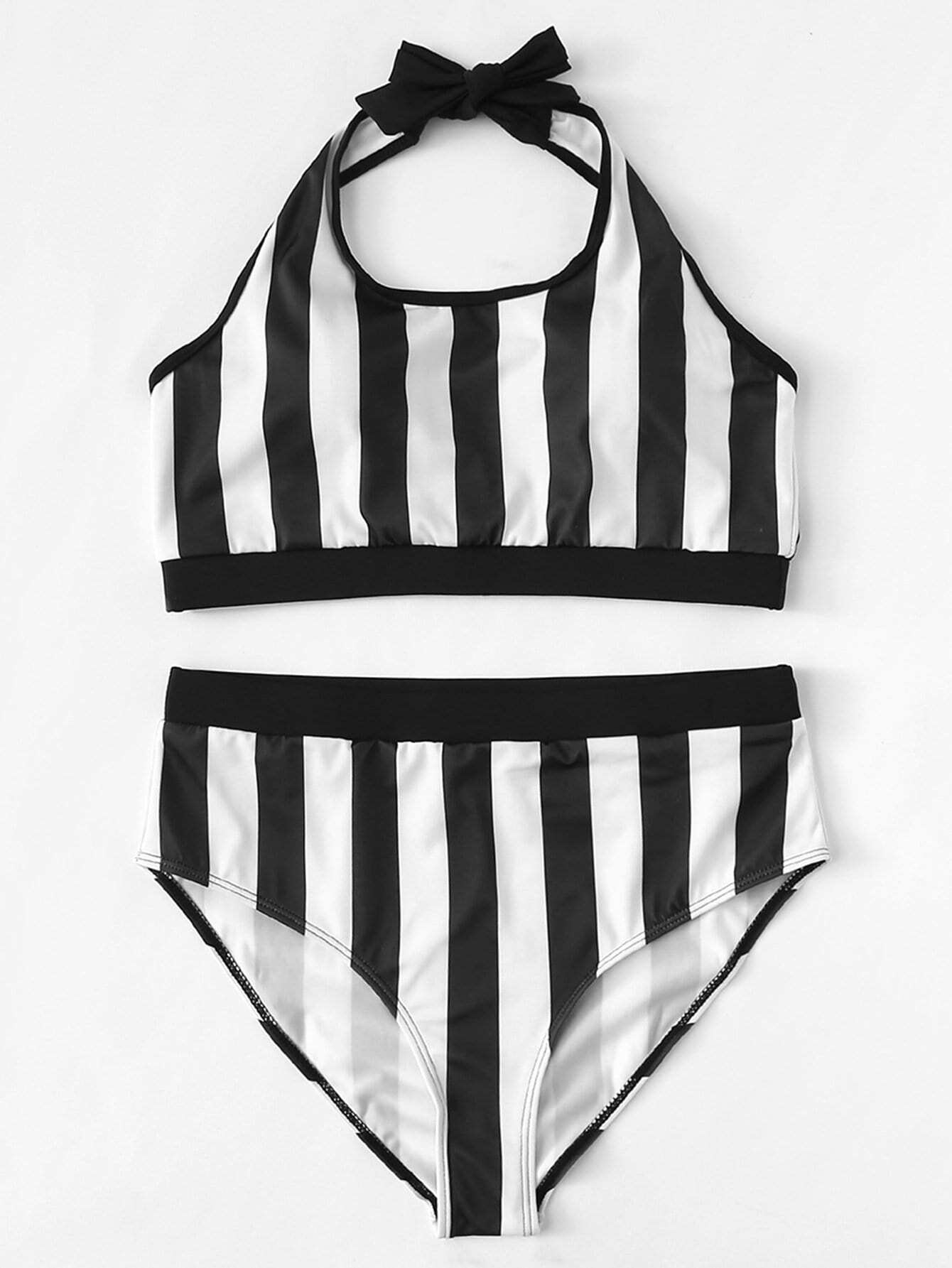 Фото Striped Halter Bikini Set checker knot bikini set