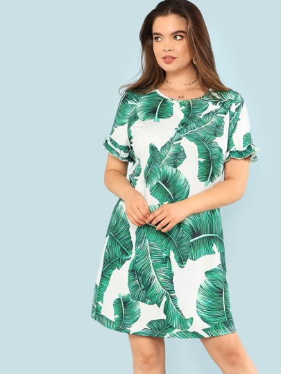 Tropical Print Ruffle Cuff Dress