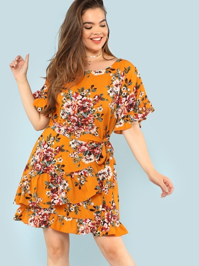 Tie Waist Ruffle Trim Floral Dress
