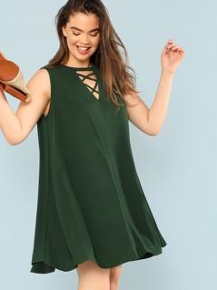 Plus V Cut Neck Crisscross Front Dress