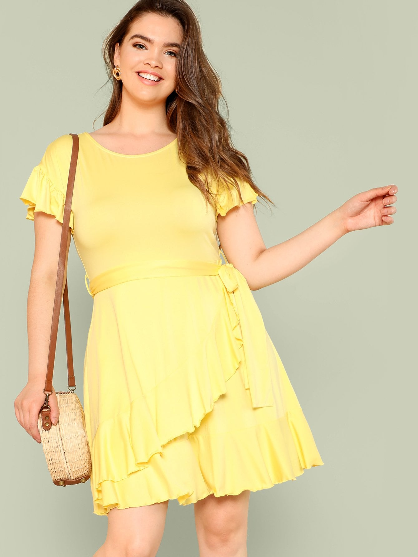 Ruffle Trim Overlap Hem Dress overlap asymmetrical hem bandeau dress