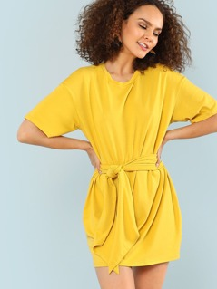 Self Belted Solid Dress