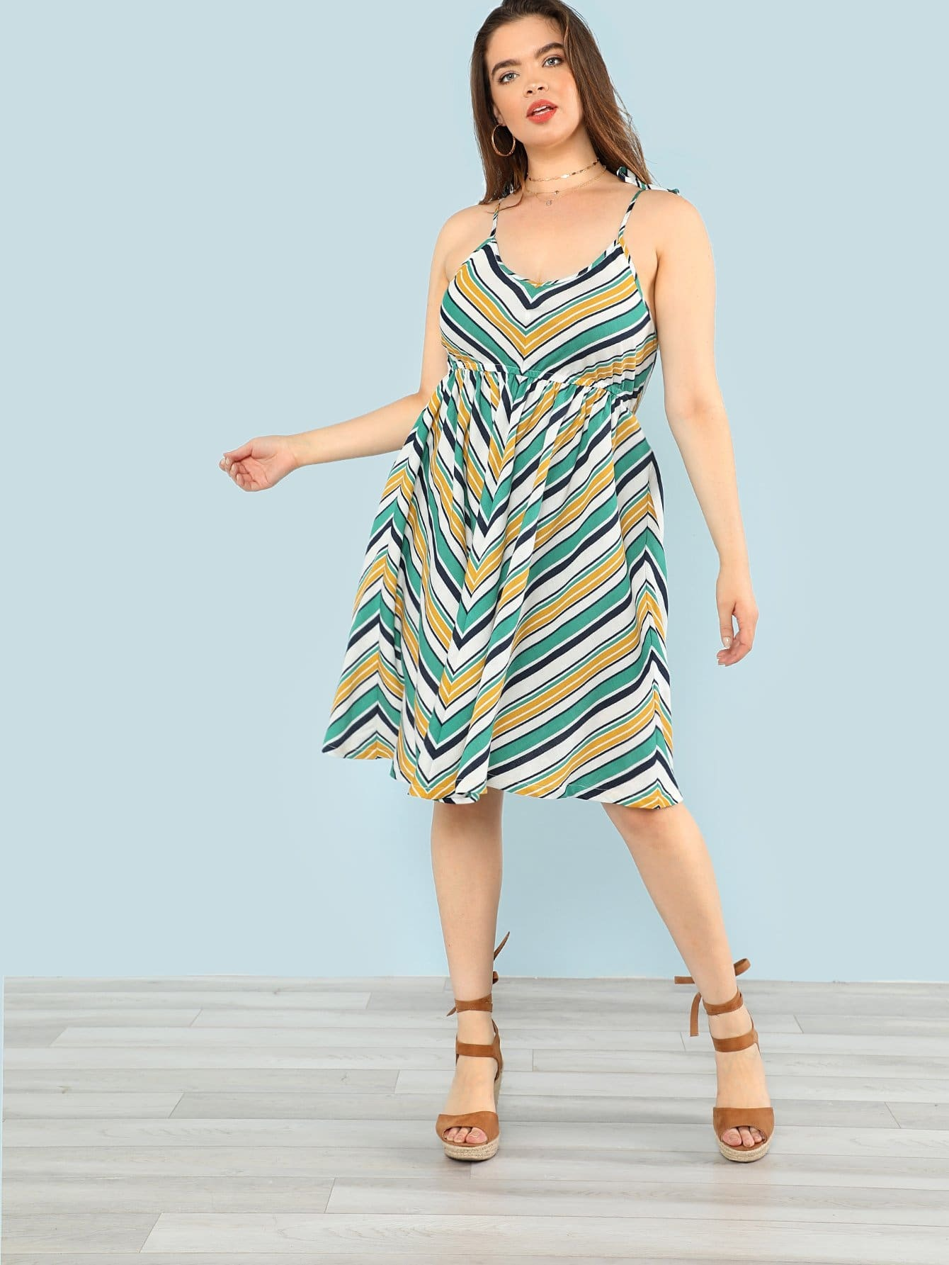 Fit And Flare Striped Cami Dress zip back fit and flare splicing dress