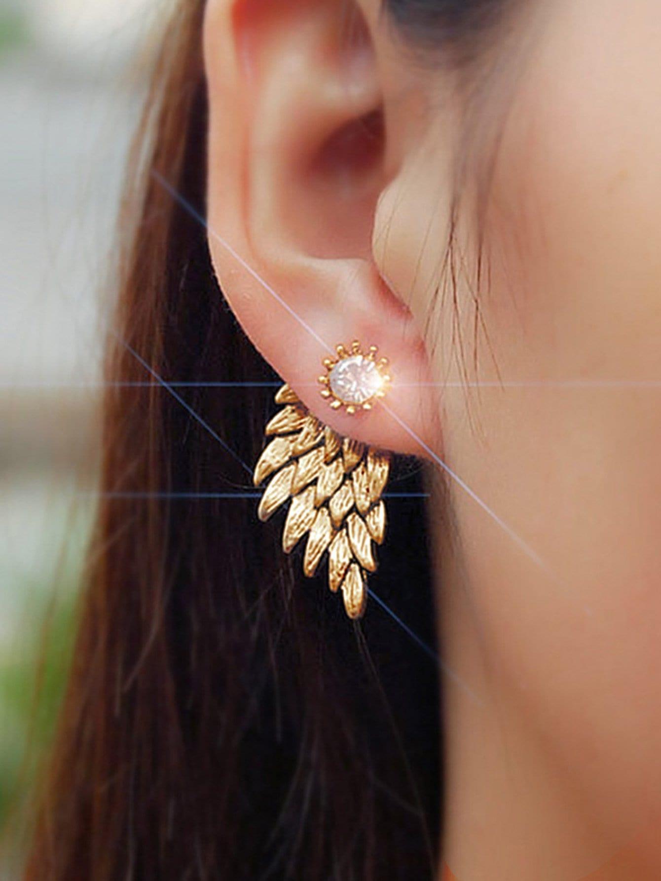 Wing Shape Rhinestone Swing Earrings