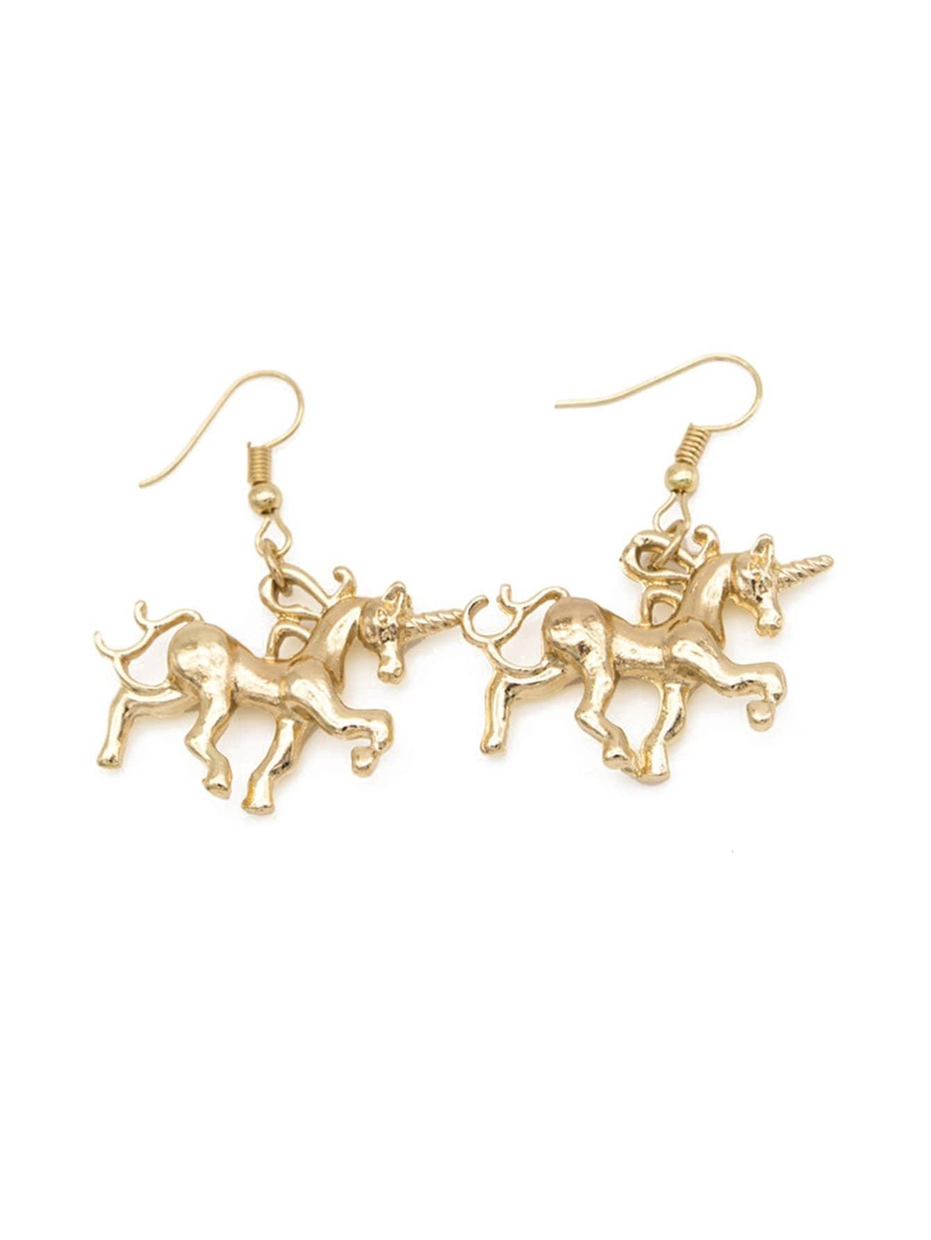 Unicorn Design Drop Earrings two tone face design drop earrings