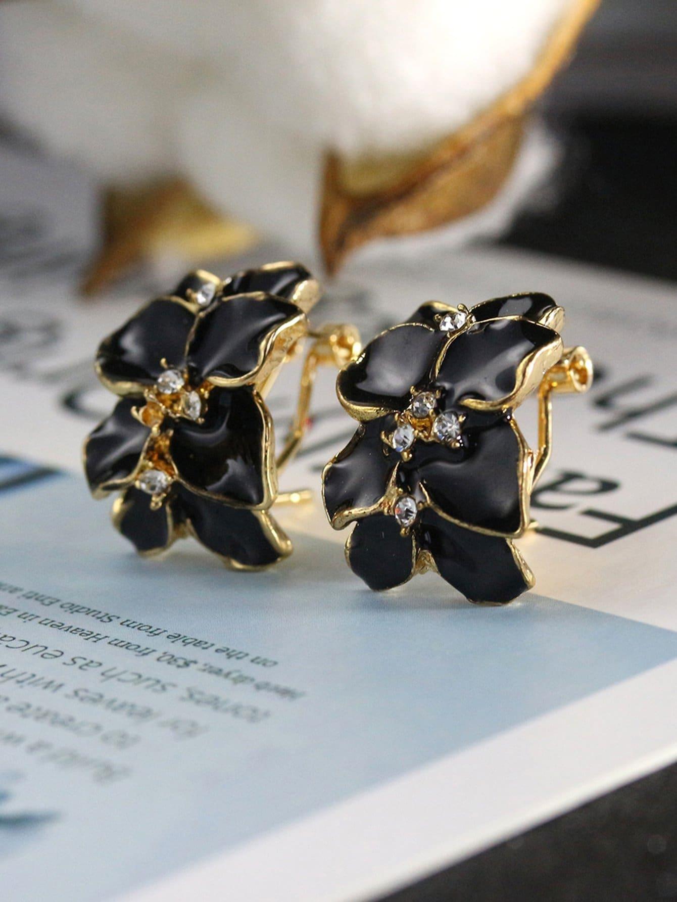 Clip On Flower Earrings clip on earrings with mandala flower pattern round pendant