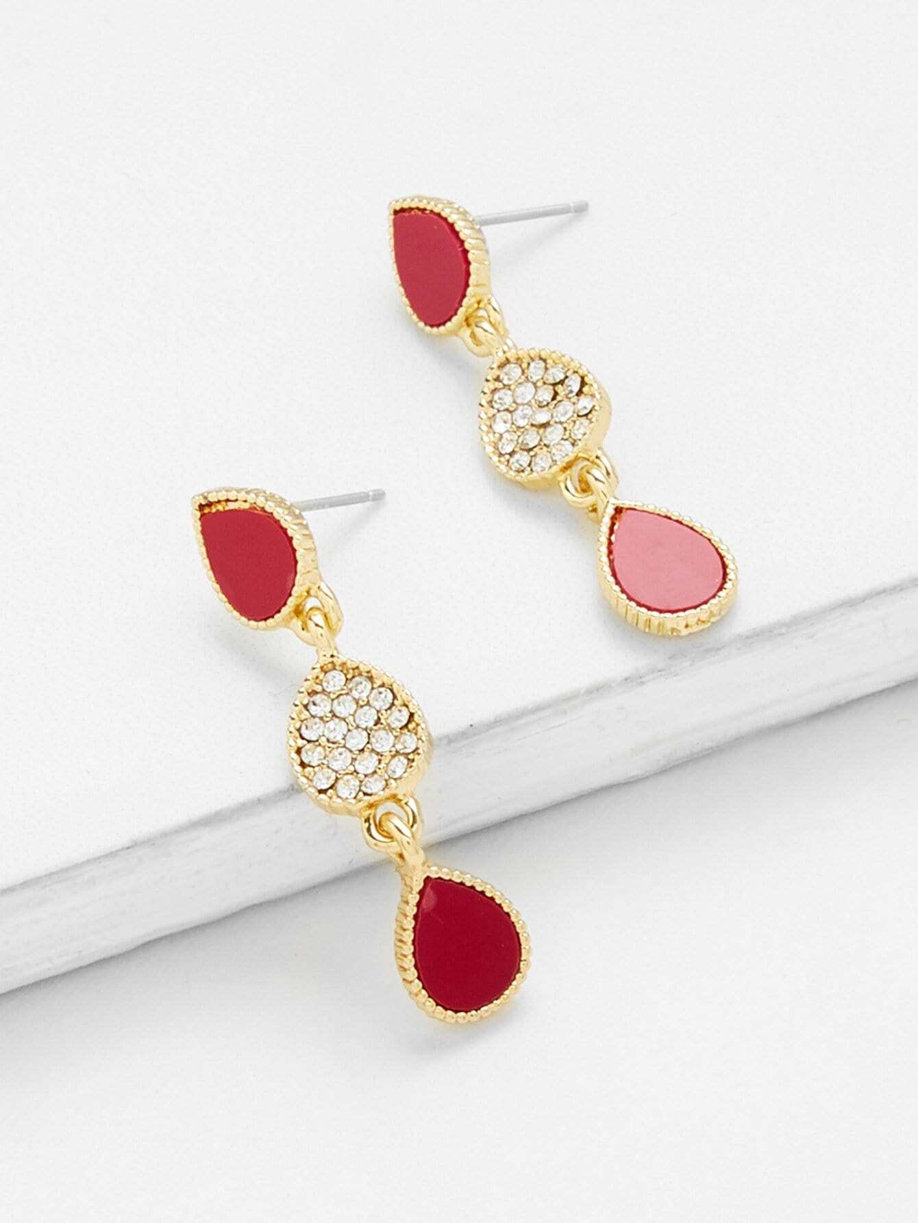 Two Tone Rhinestone Drop Earrings two tone drop shoulder sweatshirt