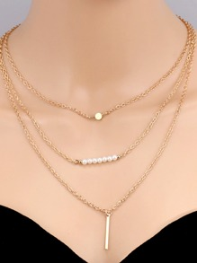 Faux Pearl Bar Pendant Multi Layer Necklace