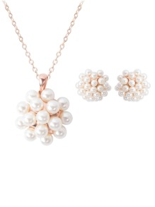 Faux Pearl Pendant Necklace & Clip On Earrings