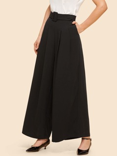 Pleated Super Wide Leg Pants with Buckle Belt