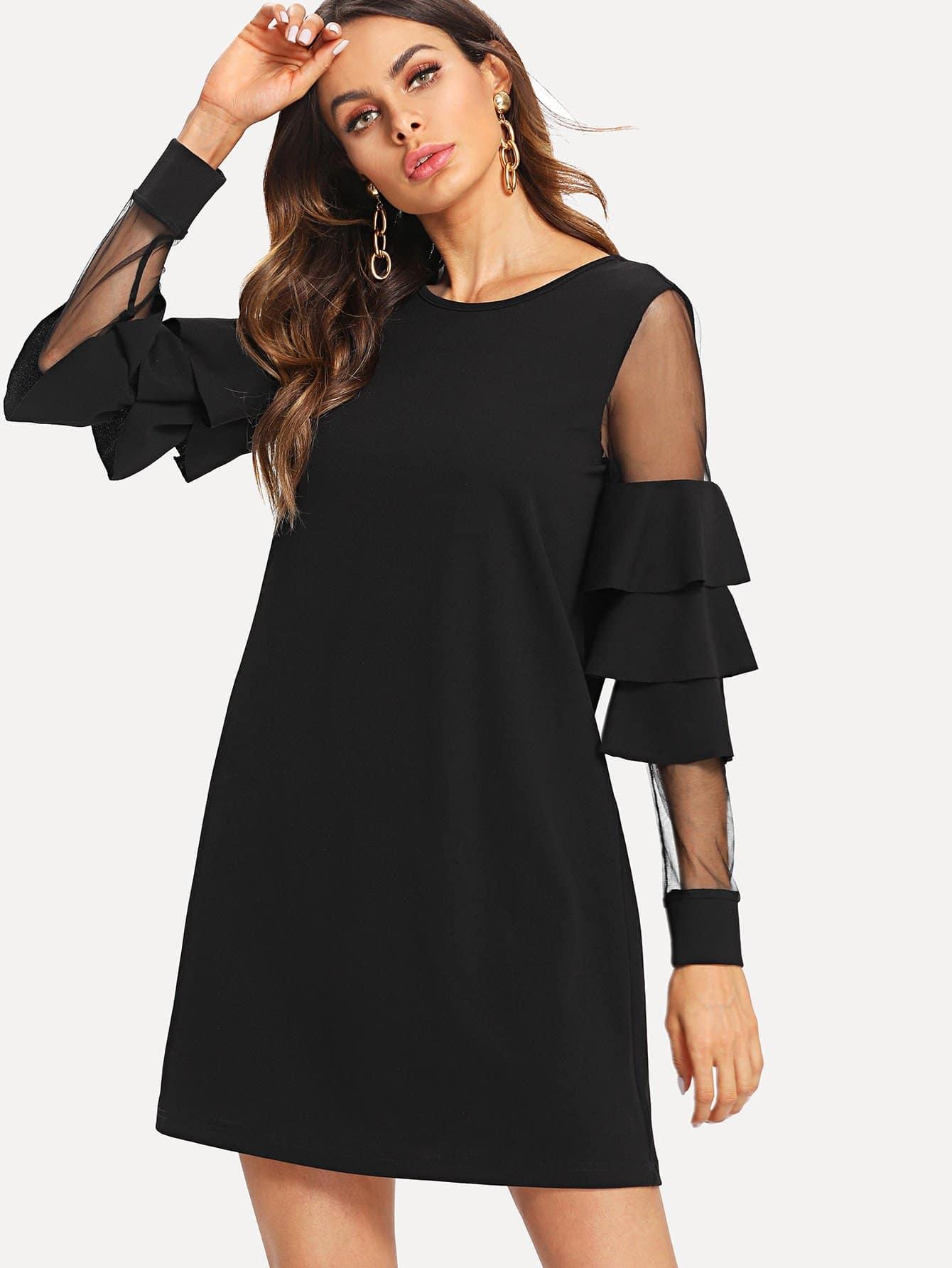 Mesh Insert Tiered Bell Sleeve Dress swan print tiered mesh dress