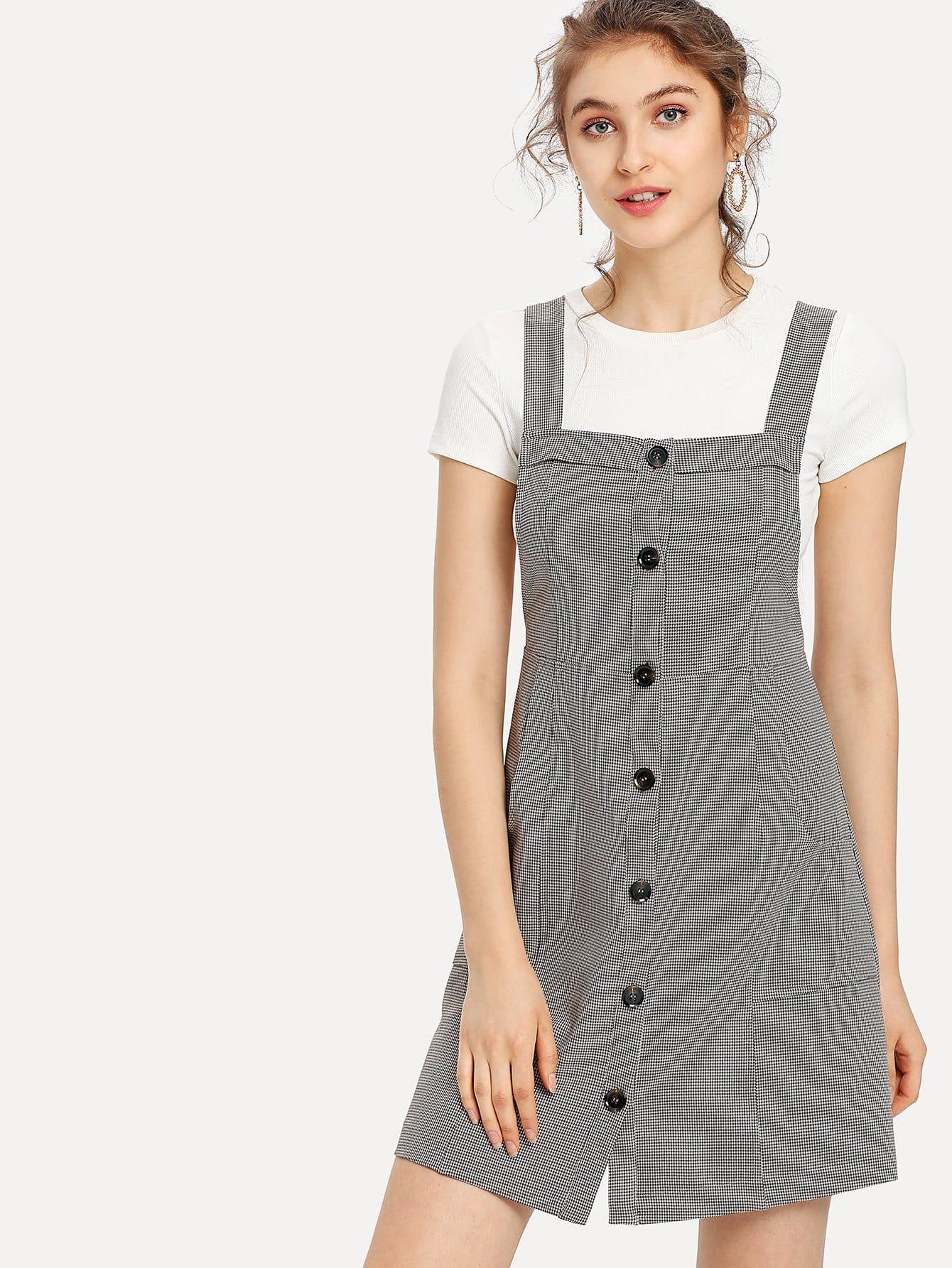 Button Up Pocket Front Plaid Pinafore Dress zip up side plaid dress