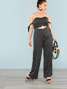 Polka Dot Cut Out Detail Sweetheart Neckline Jumpsuit