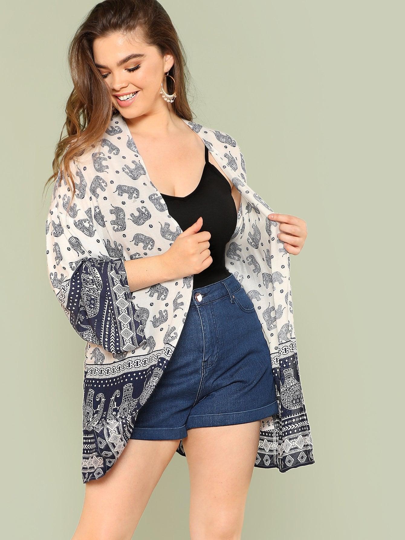 где купить Plus Tribal Print Bell Sleeve Kimono дешево