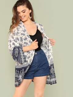Plus Tribal Print Bell Sleeve Kimono