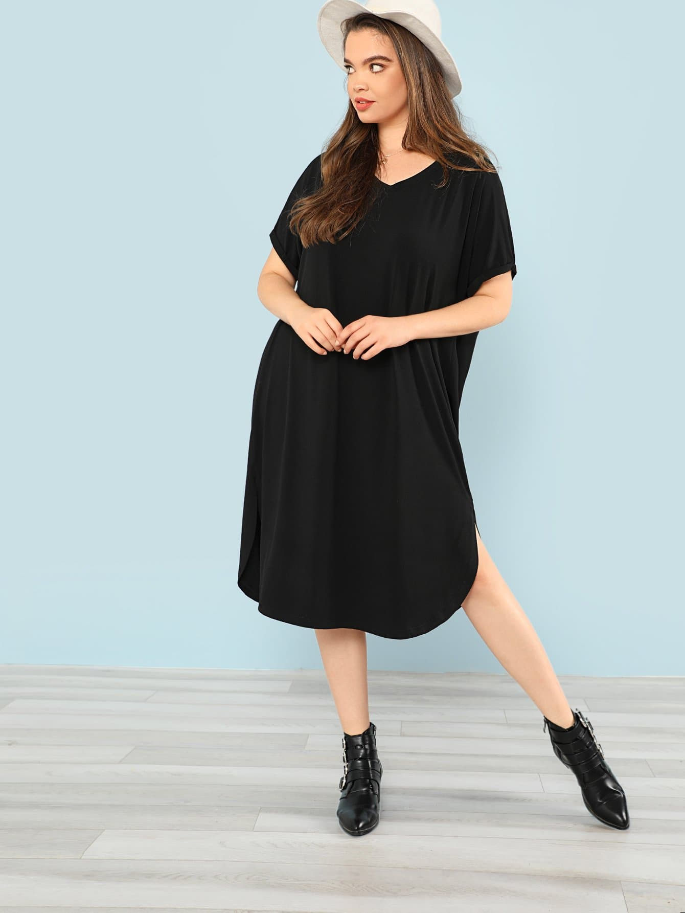 Rolled Sleeve Curved Dip Hem Dress petal sleeve wrap dip hem dress