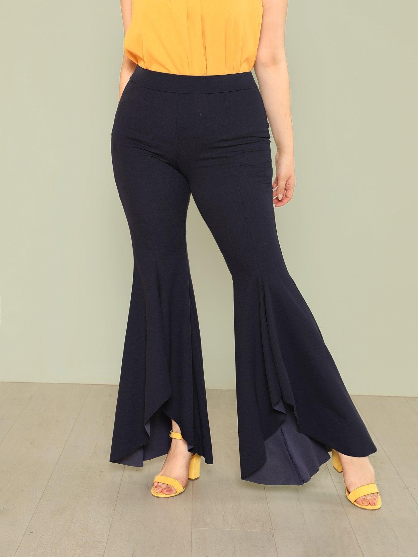 Asymmetrical Ruffle Hem Flared Pants zip back flared pants