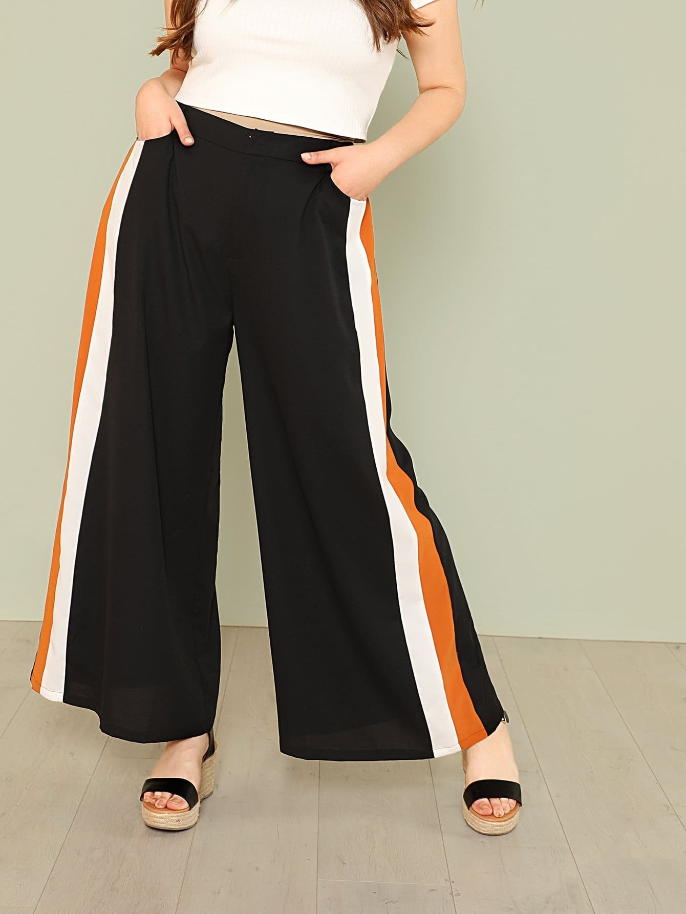 Contrast Tape Side Wide Leg Pants bow tie side wide leg pants