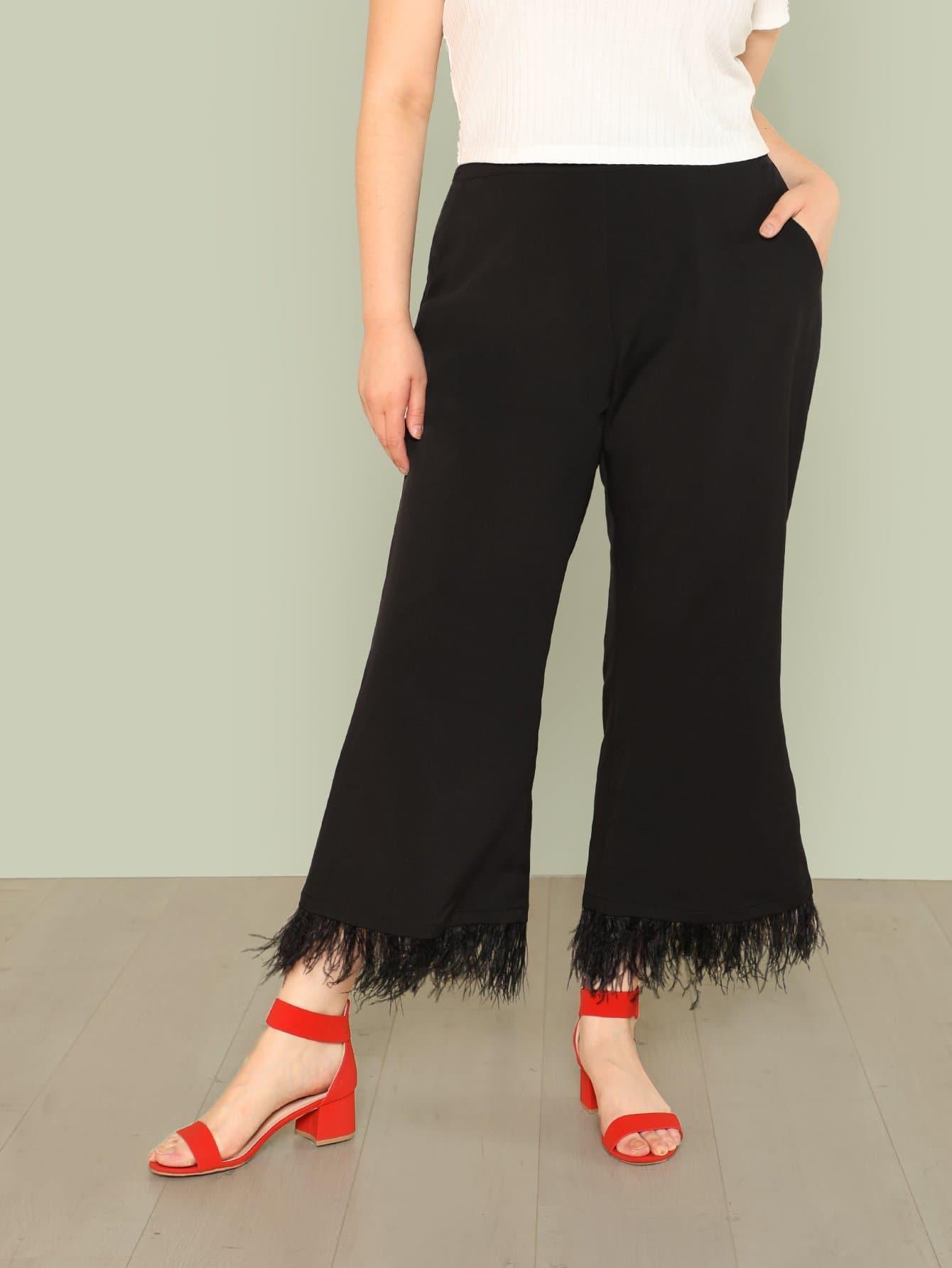 Plus Faux Feather Wide Leg Pants faux ostrich feather fur nipple covers