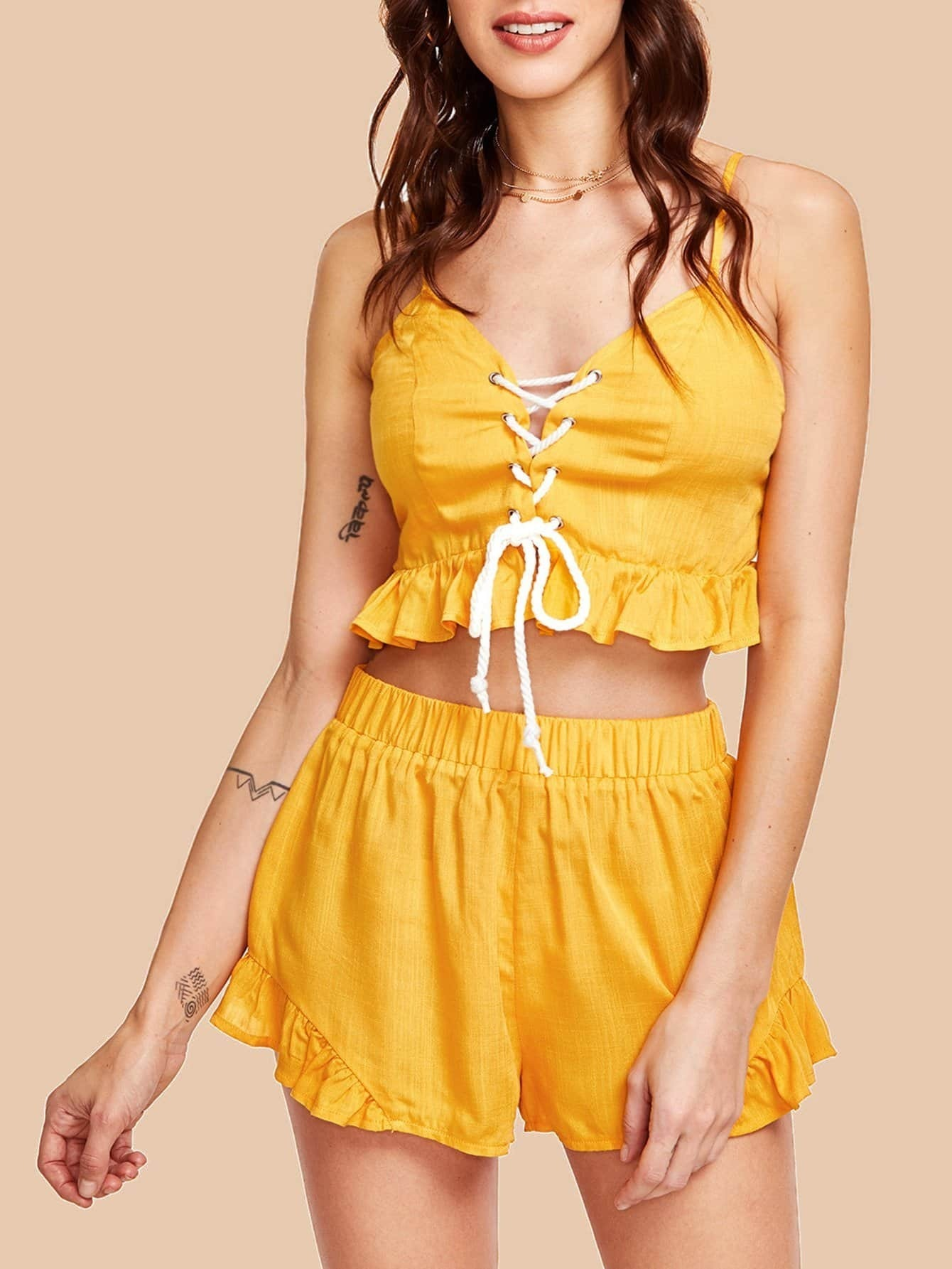 Lace Up Front Shirred Cami Top With Ruffle Shorts Set knot front shirred ruffle sleeve bardot top
