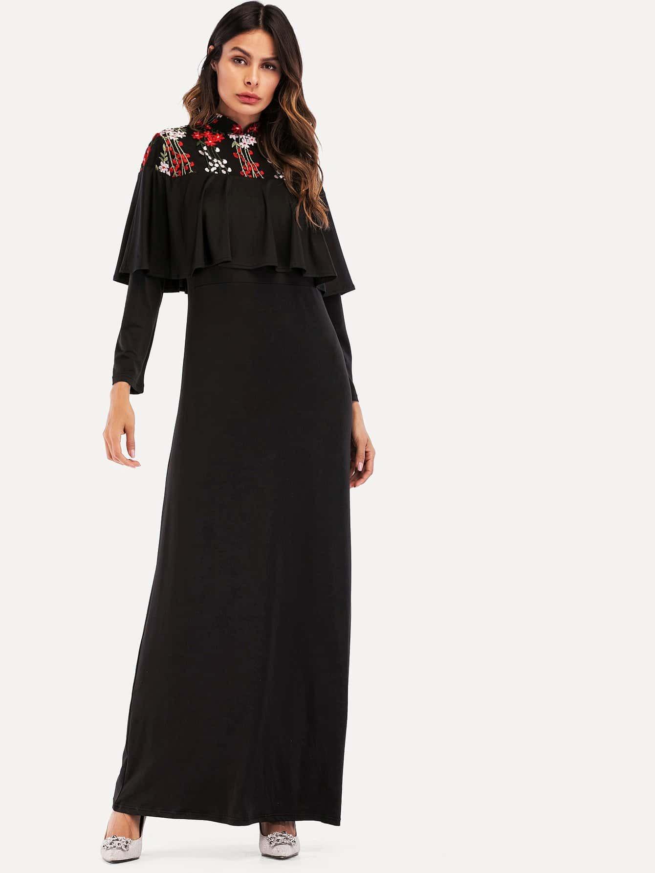 Flower Embroidered Ruffle Hem Longline Dress ruffle waist zip back scallop hem embroidered gingham skirt