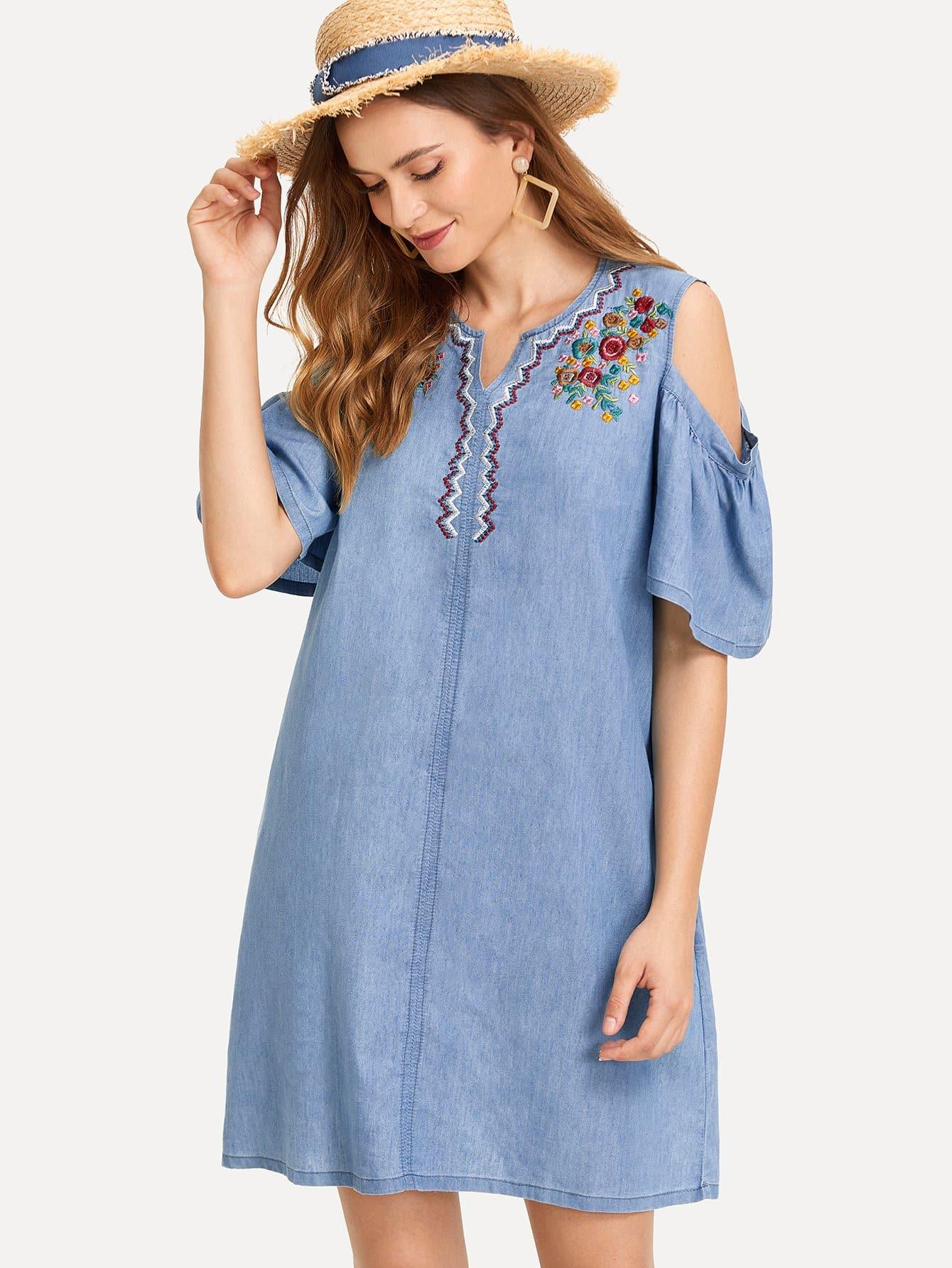 Botanical Embroidered Open Shoulder Denim Dress open shoulder botanical top