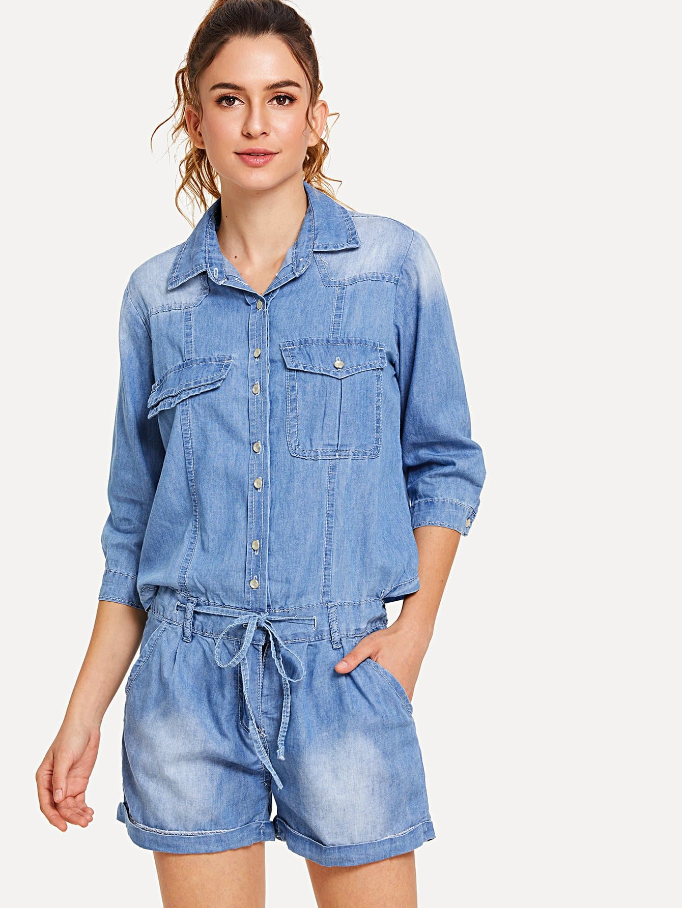 Bleach Wash Denim Overalls simple style hit color ripped bleach wash denim ankle pants for women