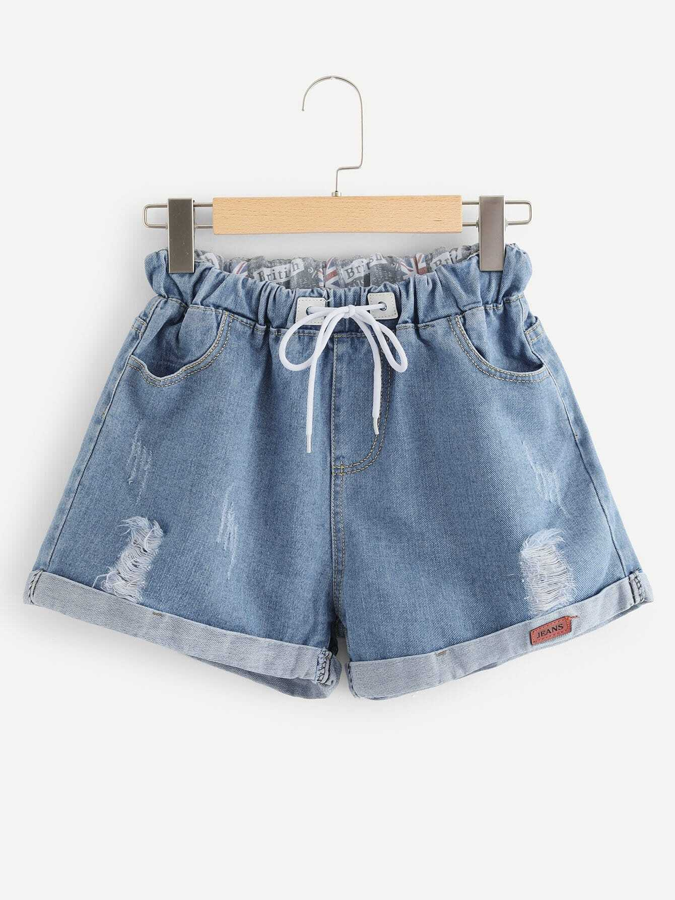 Roll Up Hem Drawstring Waist Denim Shorts цена 2017