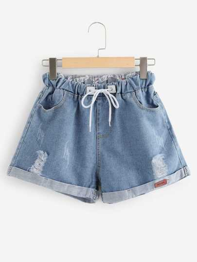 Roll Up Hem Drawstring Waist Denim Shorts
