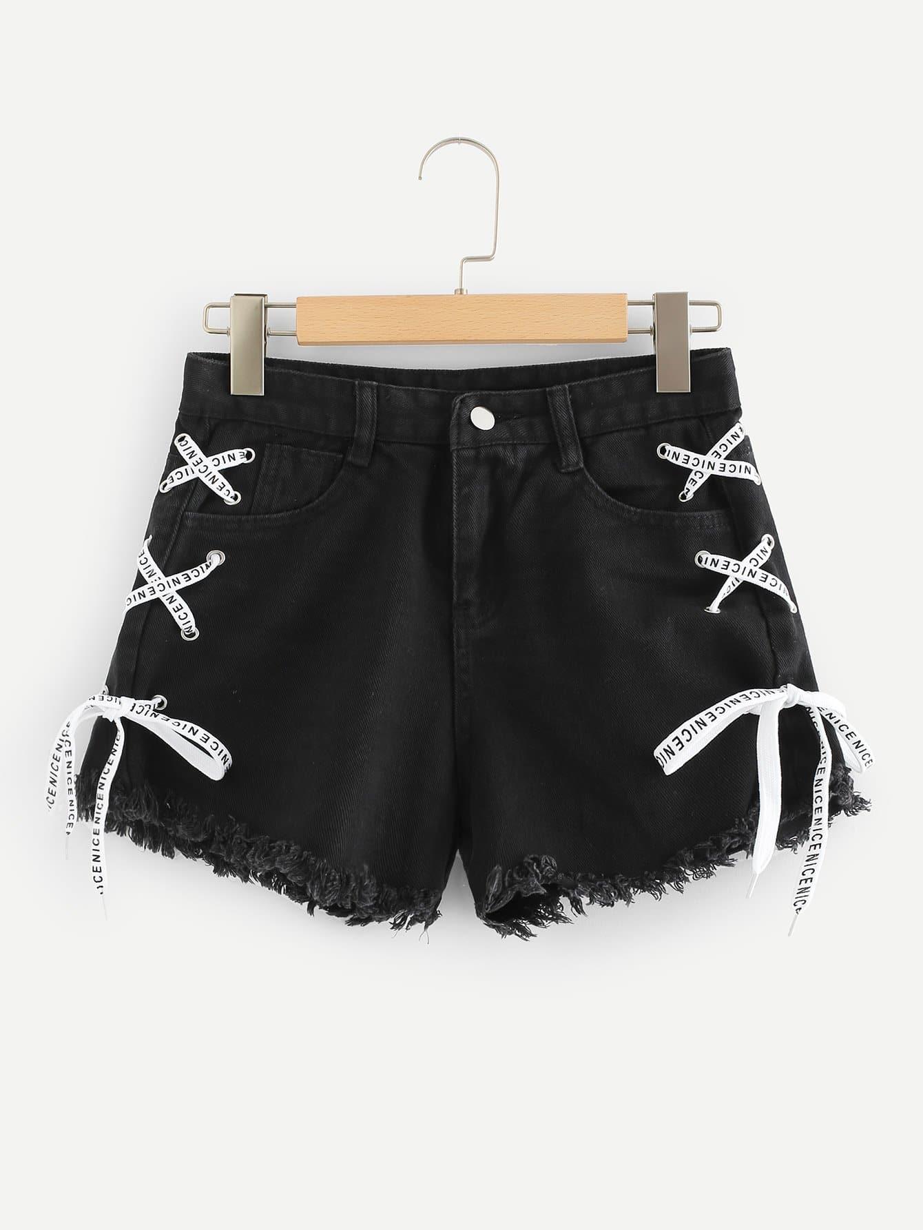 Frayed Hem Lace Up Side Denim Shorts lace hem shorts