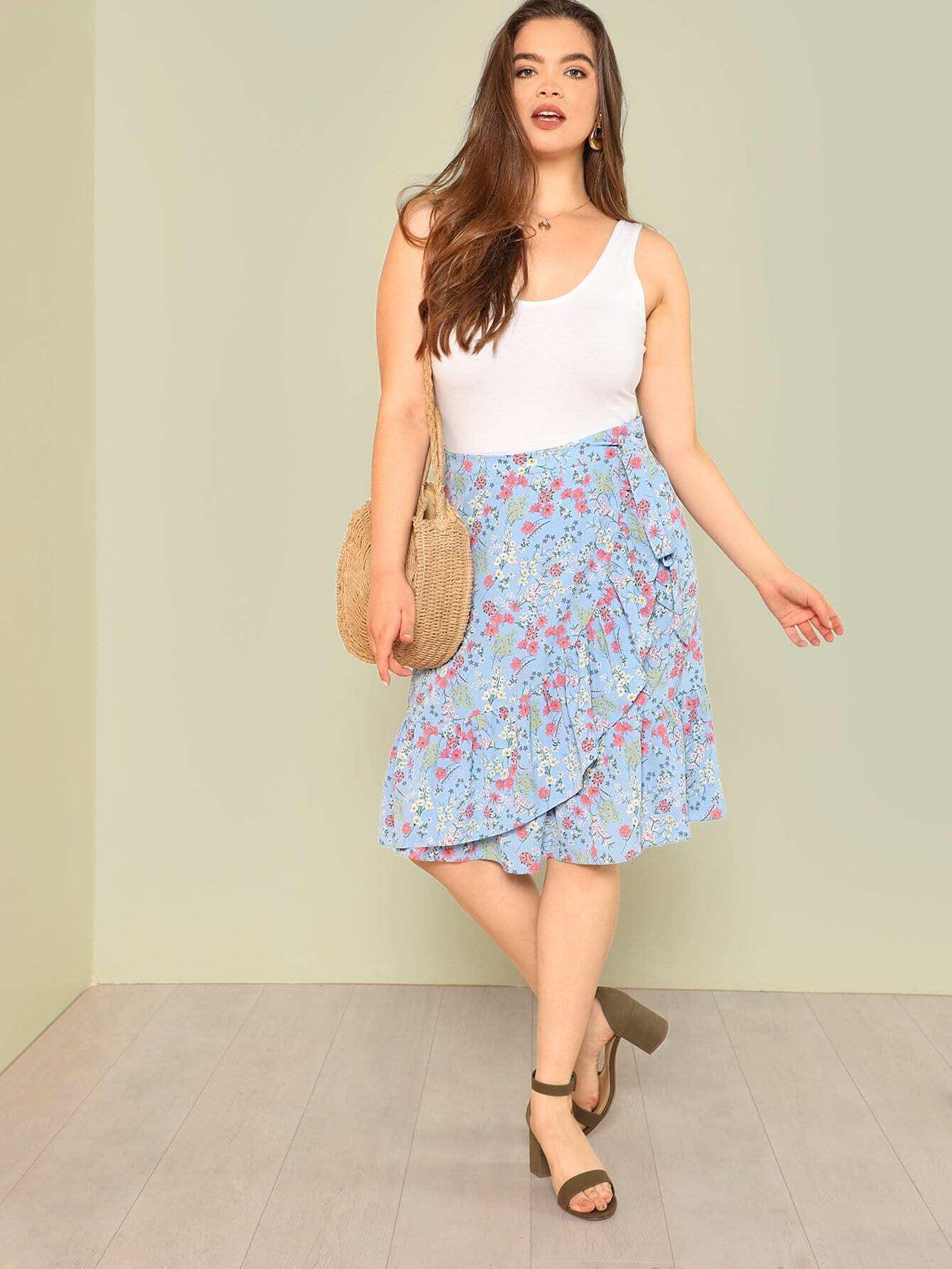 Self Tie Waist Ruffle Hem Floral Skirt self tie waist ruffle skirt