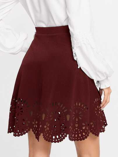Scalloped Laser Cut Trim Skirt
