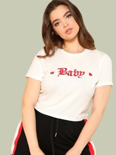 Embroidery Ribbed Knit Tee