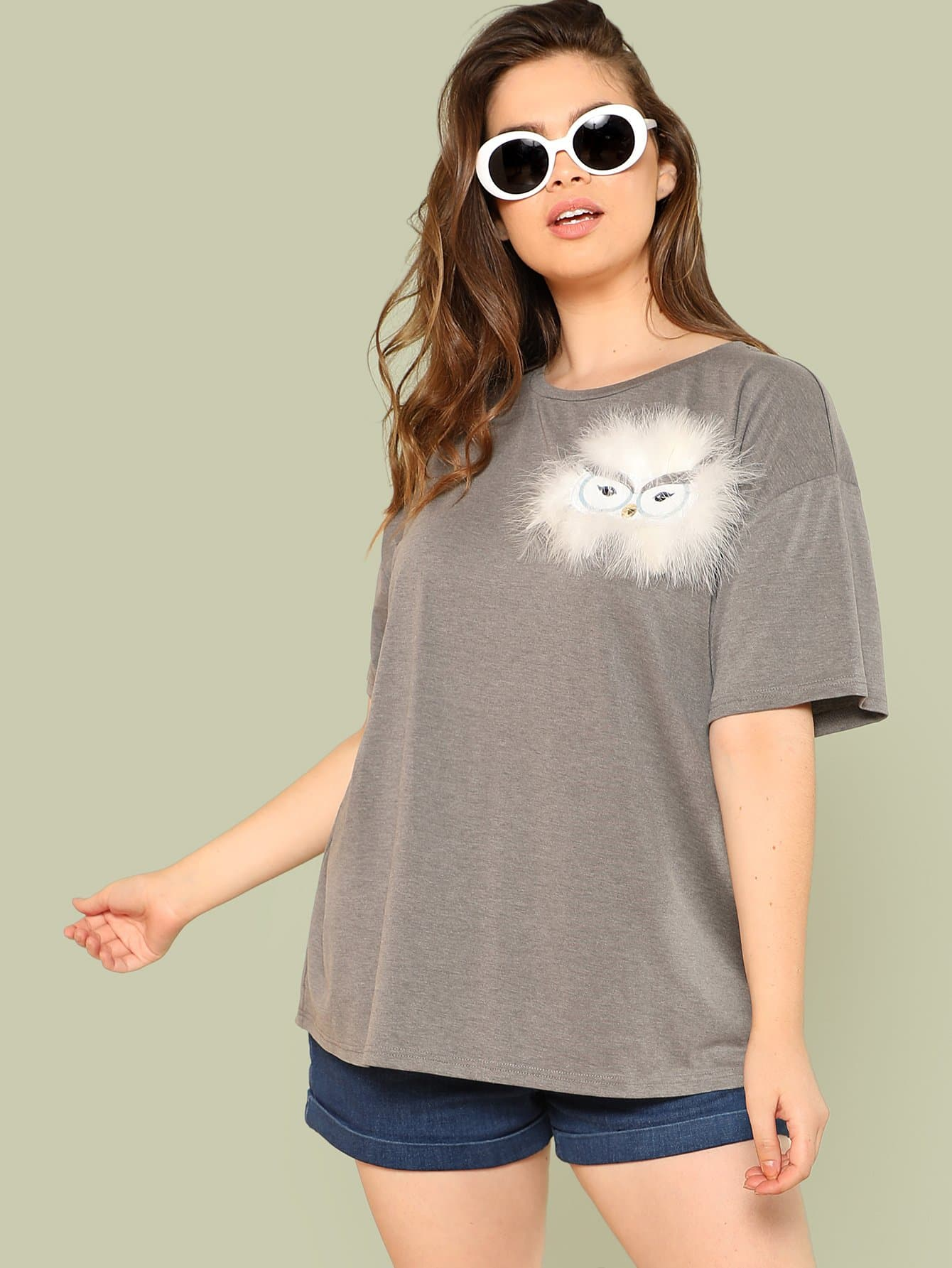 Contrast Faux Fur Fox Tee drop shoulder contrast faux fur sleeve sweatshirt