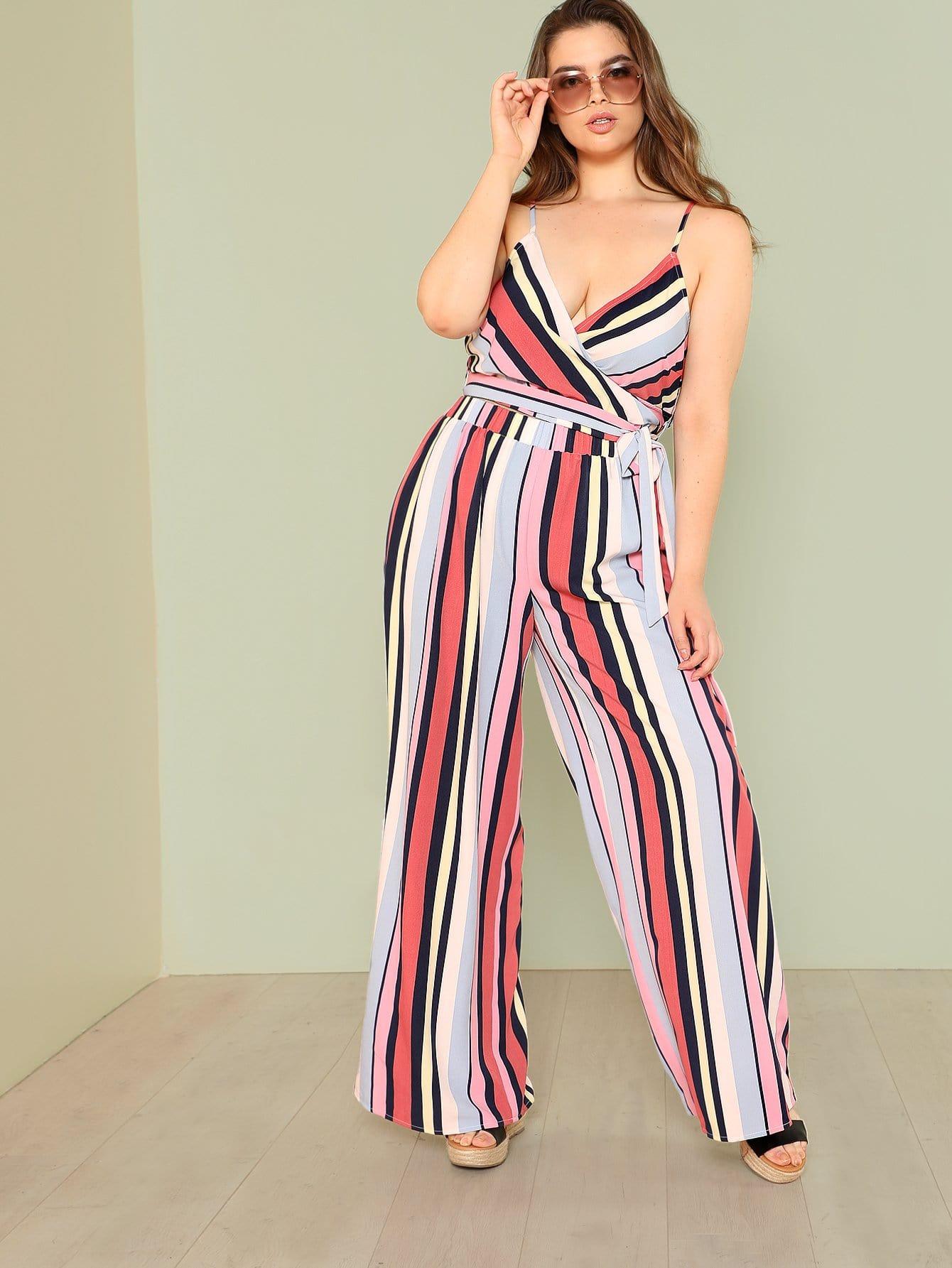 Plus Surplice Neck Striped Cami Top & Culotte Pants Set surplice neck ribbed cami top