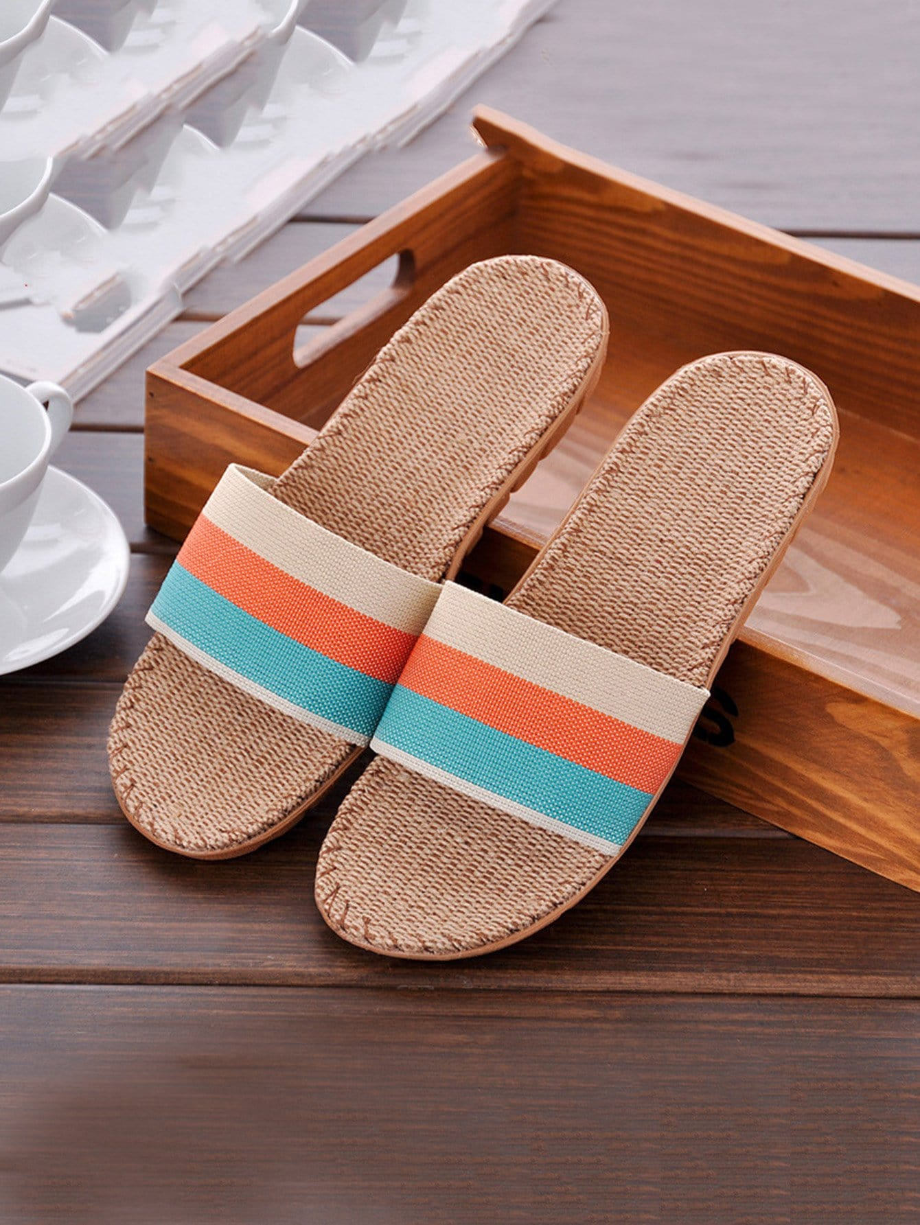 Block Striped Linen Slippers
