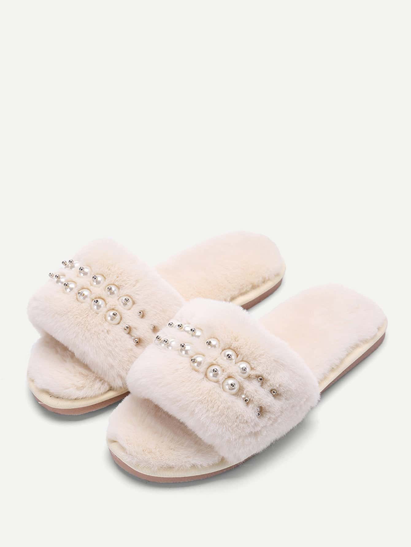 Фото Faux Pearl Fluffy Slippers faux pearl