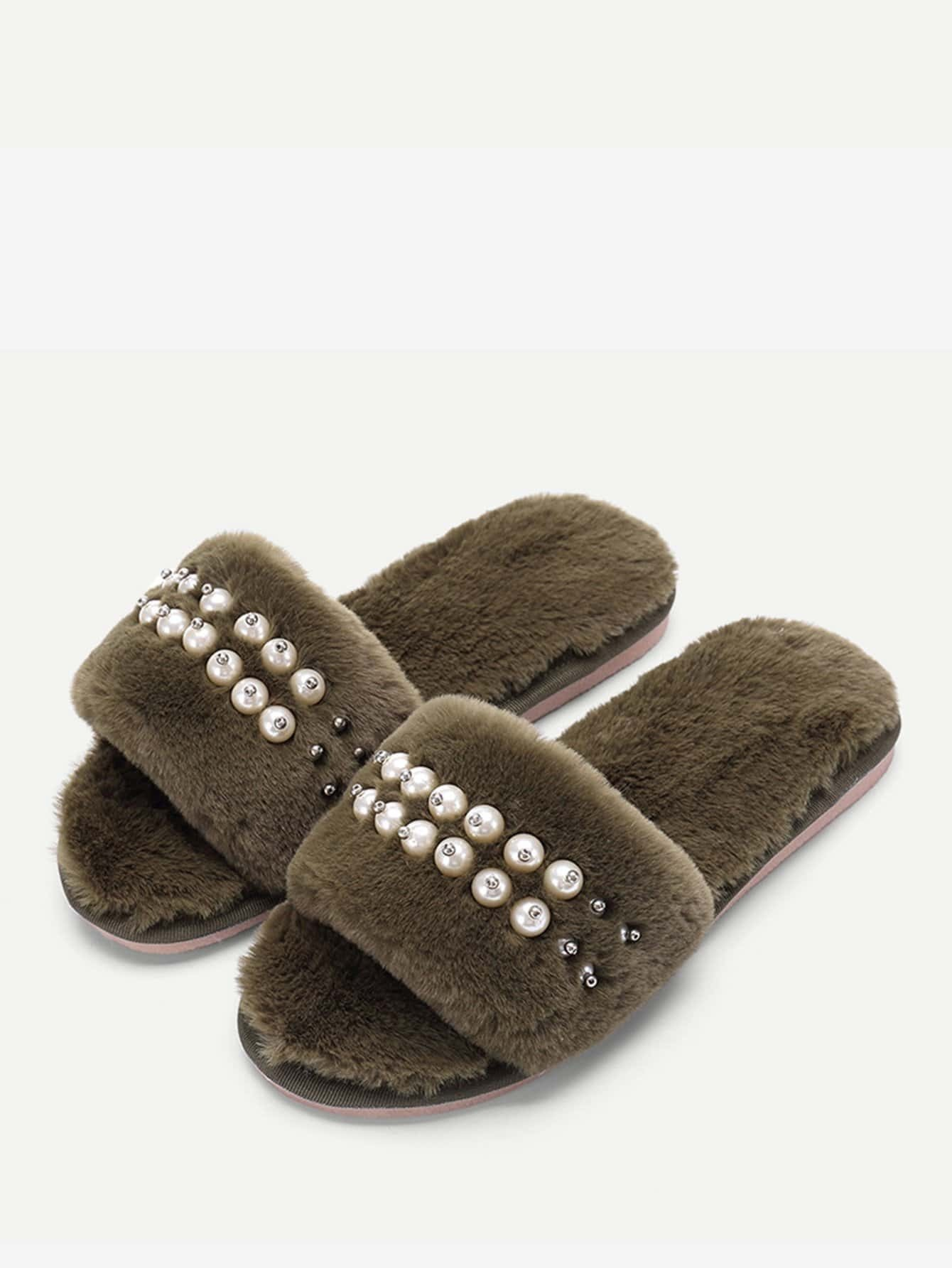 Faux Pearl Fluffy Slippers faux pearl