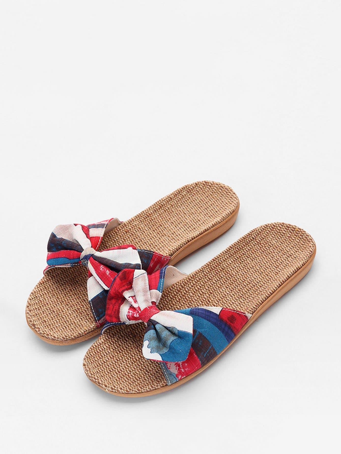 Bow Tie Flat Linen Sliders