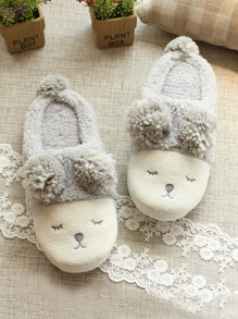 Cartoon Embroidery Fluffy Slippers