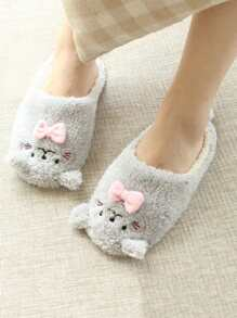Contrast Bow Fluffy Slippers