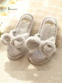 Bow Tie Fluffy Slippers
