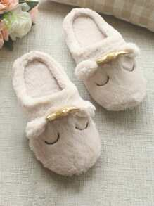 Contrast Crown Fluffy Slippers