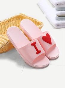 Contrast Heart Slide Sandals