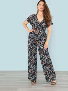 Floral Print Knot Front Top And Wide Leg Pants Set